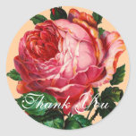 BEAUTIFUL PINK ROSE  Thank You Round Sticker