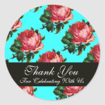 BEAUTIFUL PINK ROSE  Thank You Round Stickers