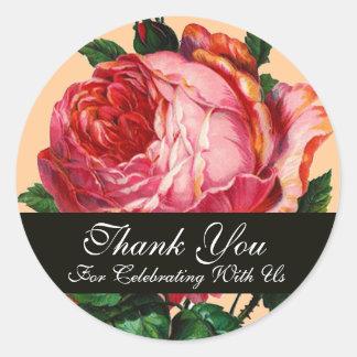 BEAUTIFUL PINK ROSE  Thank You Sticker