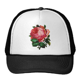 BEAUTIFUL PINK ROSE TRUCKER HAT