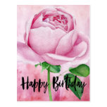 Beautiful Pink Rose with Happy Birthday Postcard