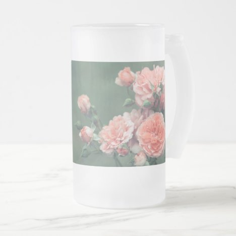 Beautiful pink roses. Add custom text. Frosted Glass Beer Mug