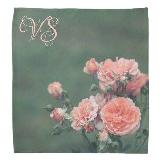 Beautiful pink roses. Add your monogram. Bandana