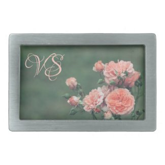 Beautiful pink roses. Add your monogram. Belt Buckle