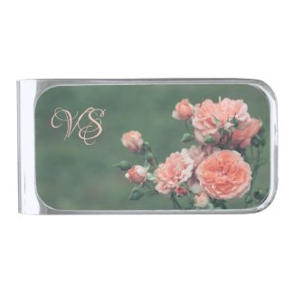 Beautiful pink roses. Add your monogram. Silver Finish Money Clip