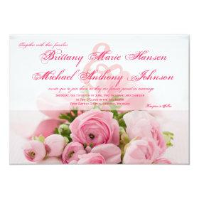 Beautiful Pink Roses Bouquet Wedding Invitation 4.5