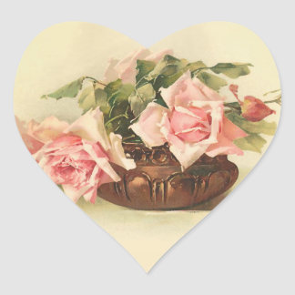 Beautiful Pink Roses in a Copper Bowl Heart Sticker