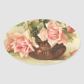 Beautiful Pink Roses in a Copper Bowl Oval Sticker