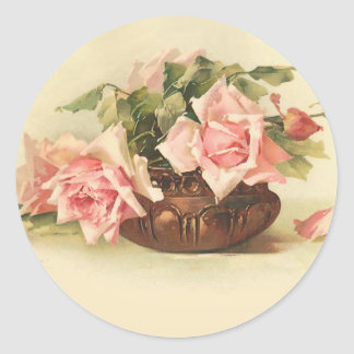 Beautiful Pink Roses in a Copper Bowl Classic Round Sticker
