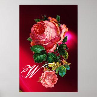 BEAUTIFUL PINK ROSES MONOGRAM POSTER