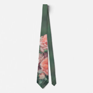 Beautiful pink roses on a natural green background neck tie