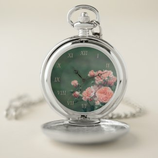 Beautiful pink roses on a natural green background pocket watch