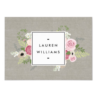 Beautiful Pink Roses on Linen Gift Certificate 4.5x6.25 Paper Invitation Card
