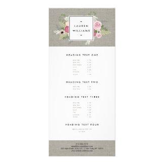 Beautiful Pink Roses on Linen Modern Elegance Custom Rack Cards