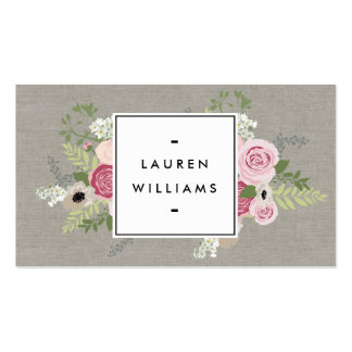 Beautiful Pink Roses on Linen Modern Elegance Double-Sided Standard Business Cards (Pack Of 100)