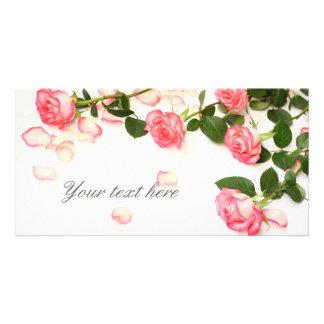 Beautiful pink roses photo card
