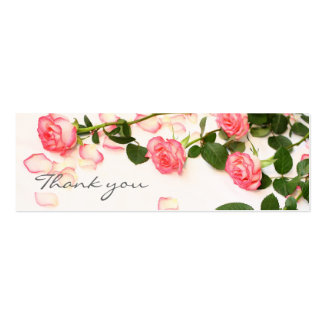 Beautiful pink roses, thank you card pack of skinny business cards