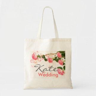 Beautiful pink roses, wedding bag