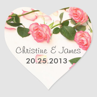 Beautiful pink roses wedding sticker