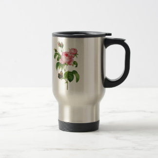 Beautiful Pink Roses with Butterfly Travel Mug