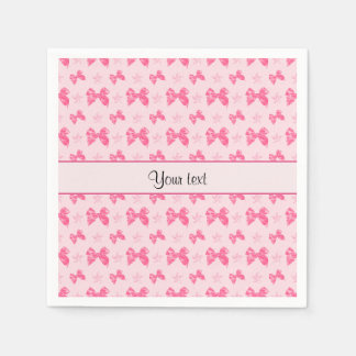 Beautiful Pink Satin Bows Paper Napkin
