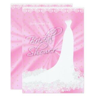 Beautiful Pink Satin Religious Bridal Shower Card