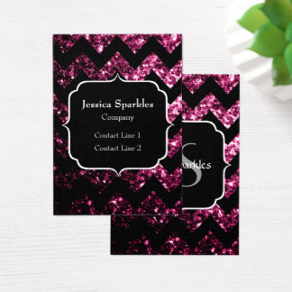 Beautiful Pink sparkles black Chevron and Monogram Business Card