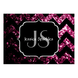 Beautiful Pink sparkles with Chevron and Monogram Business Card Templates