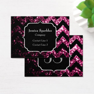 Beautiful Pink sparkles with Chevron and Monogram Business Card