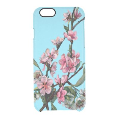 Beautiful Pink Spring Blossom on Blue Clear iPhone 6/6S Case