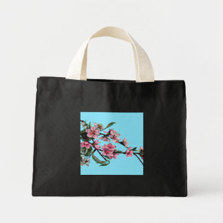 Beautiful Pink Spring Blossom on Blue Mini Tote Bag