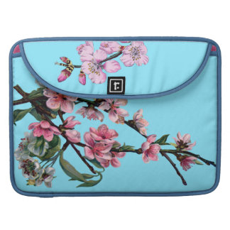 Beautiful Pink Spring Blossom on Blue Sleeve For MacBook Pro
