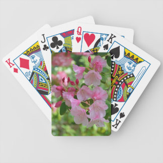 Beautiful pink spring rhododendron flowers bicycle poker cards