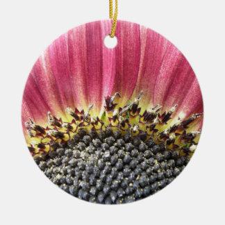 Beautiful Pink Sunflower Custom Birthday Double-Sided Ceramic Round Christmas Ornament