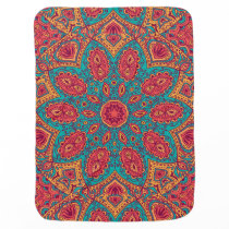 Beautiful Pink Teal Orange Zen Pattern Baby Blanket