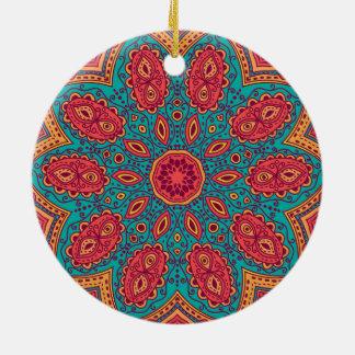 Beautiful Pink Teal Orange Zen Pattern Ceramic Ornament