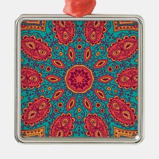 Beautiful Pink Teal Orange Zen Pattern Metal Ornament
