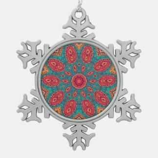 Beautiful Pink Teal Orange Zen Pattern Snowflake Pewter Christmas Ornament