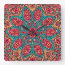 Beautiful Pink Teal Orange Zen Pattern Square Wall Clock