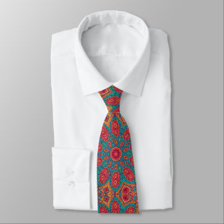 Beautiful Pink Teal Orange Zen Pattern Tie