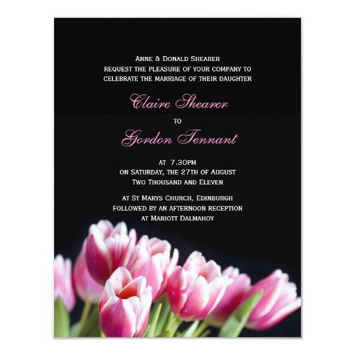 Beautiful Pink Tulips Wedding Invitation Zazzle
