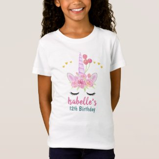 Beautiful Pink Unicorn Watercolor Florals Birthday T-Shirt