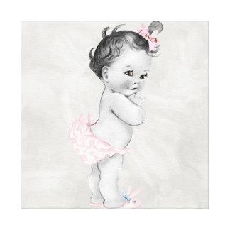 Beautiful Pink Vintage Baby Girl Canvas Print