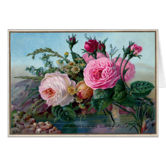 Beautiful Pink Vintage Cabbage Roses Greeting Card
