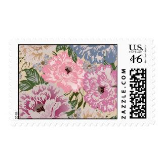 Beautiful Pink Vintage Floral Pattern Postage