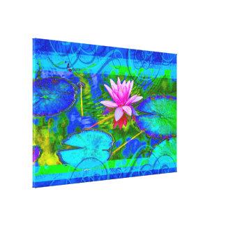 Beautiful Pink Waterlily Lotus in Pond Canvas Print