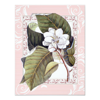 "Beautiful Pink White Magnolia Formal Dinner Party 4.25"" X 5.5"" Invitation Card"