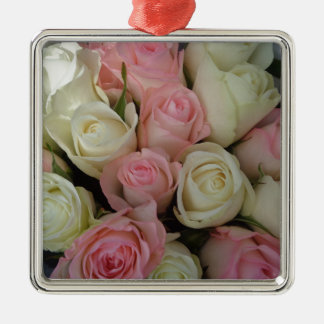 Beautiful Pink White Roses Flower Bouquet Metal Ornament