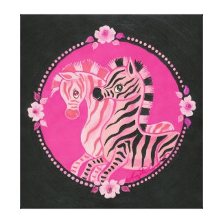 Beautiful Pink Zebras With Roses and Pearls wrappedcanvas
