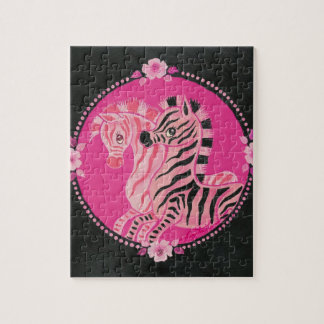 Beautiful Pink Zebras With Roses and Pearls Jigsaw Puzzle